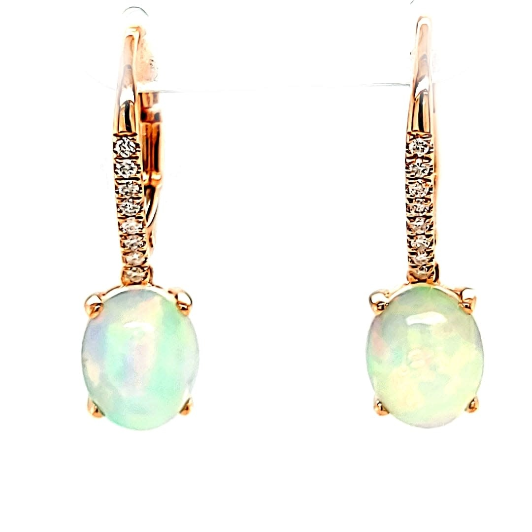 Cirari 14KR 2.24TW Ethiopian Opal Dangle Earrings .09tw