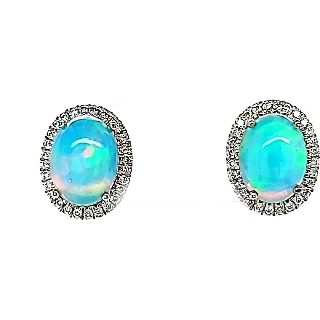 Cirari 14KW 1.73TW Opal Halo Stud Earrings .15tw