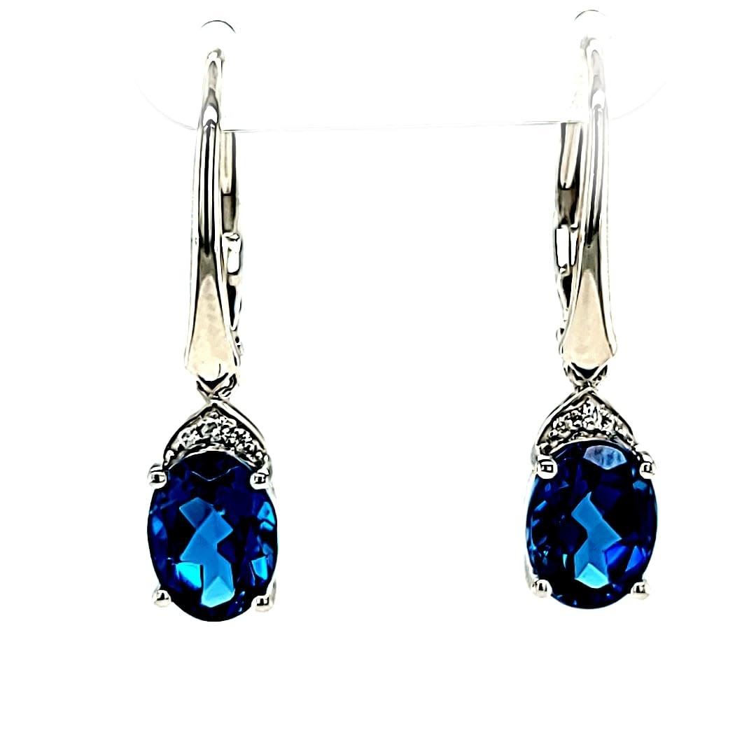 Cirari 14KW 3.02TW London Blue Topaz and Diamond Dangle Earrings .03TW
