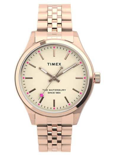 Timex Rose Gold Ladies Waterbury Timex Watch with Pink Accents