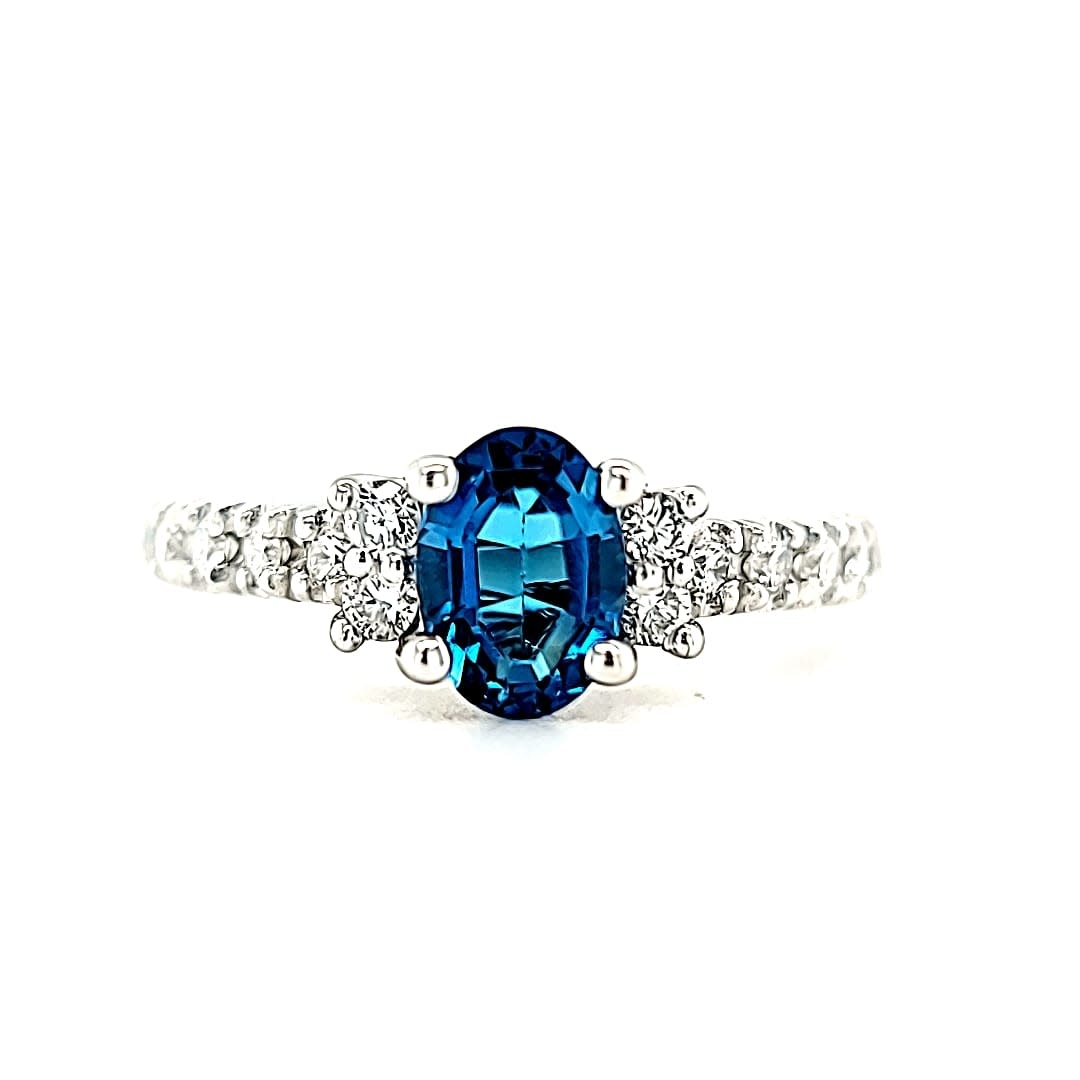 14KW London Blue Topaz and LG Diamond Ring 7X5