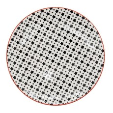 Torre & Tagus Assiette en porcelaine Kiri 8 white with black daisies