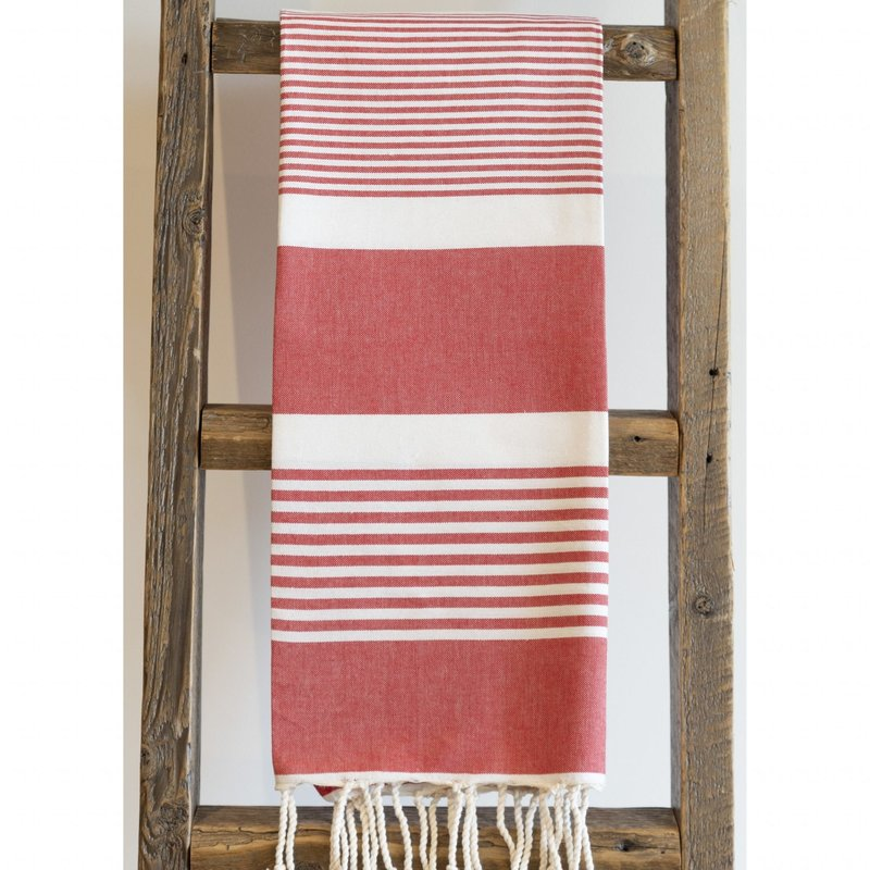Alliadesign fouta duo rouge et blanc alliadesign