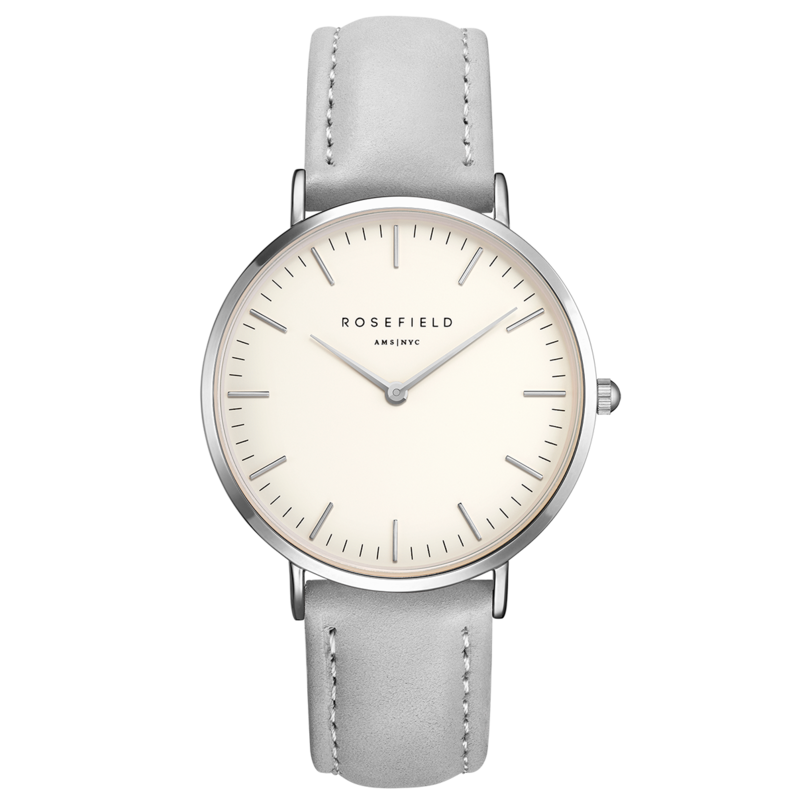 Rosefield Montre Rosefield The Bowery blanc gris 38mm