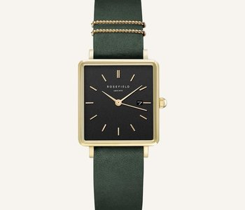 Montre Rosefield The Boxy Black Forest Green Gold 33mm