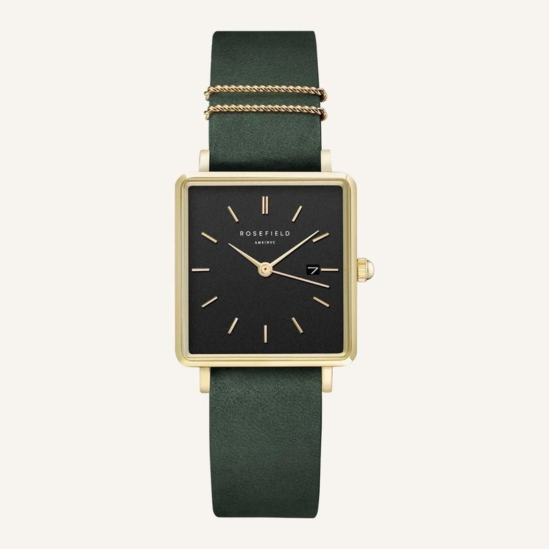 Rosefield Montre Rosefield The Boxy Black Forest Green Gold 33mm