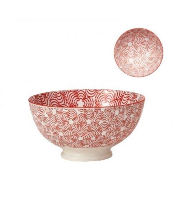 Bol de porcelaine kiri red with red trim 6''