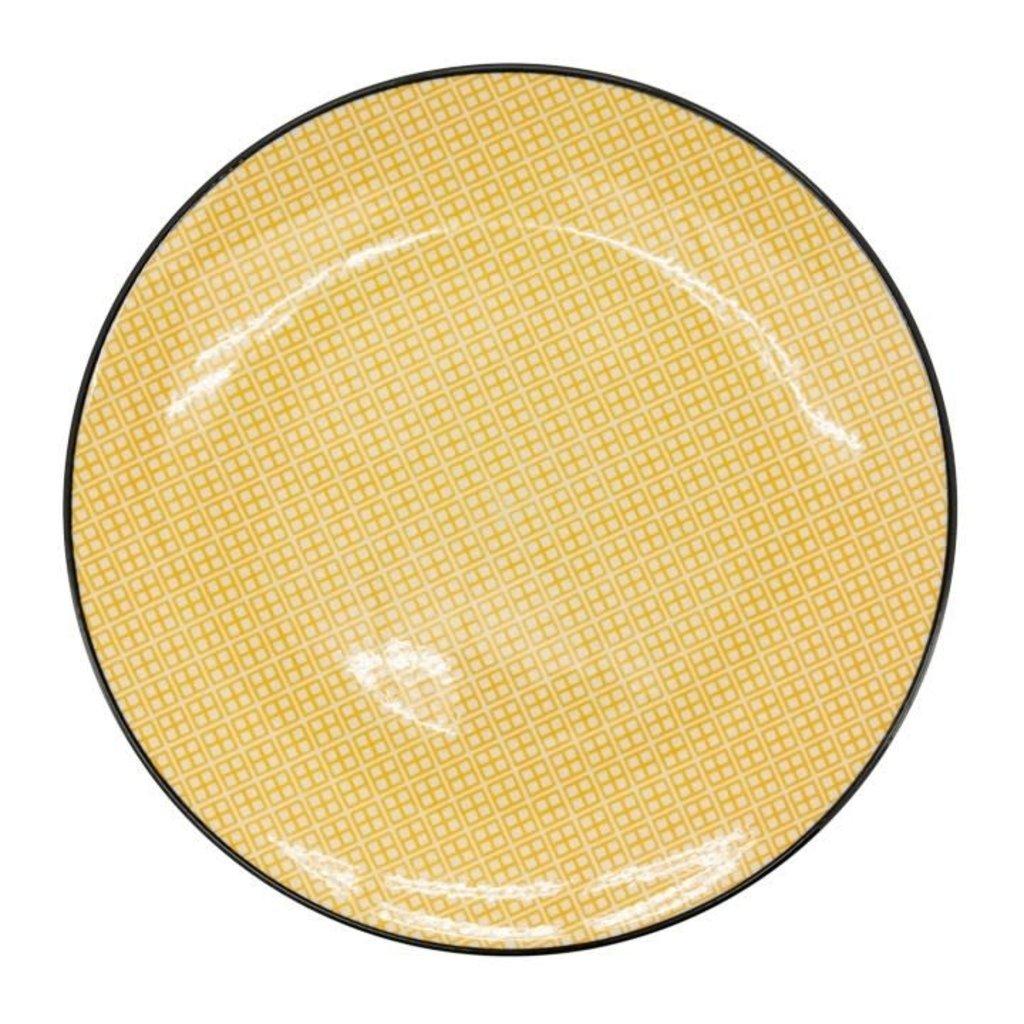 Torre & Tagus Assiette en porcelaine Kiri 8 yellow with black trim