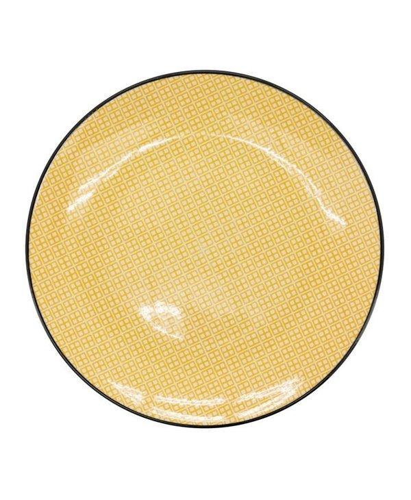 Assiette en porcelaine Kiri 8 yellow with black trim