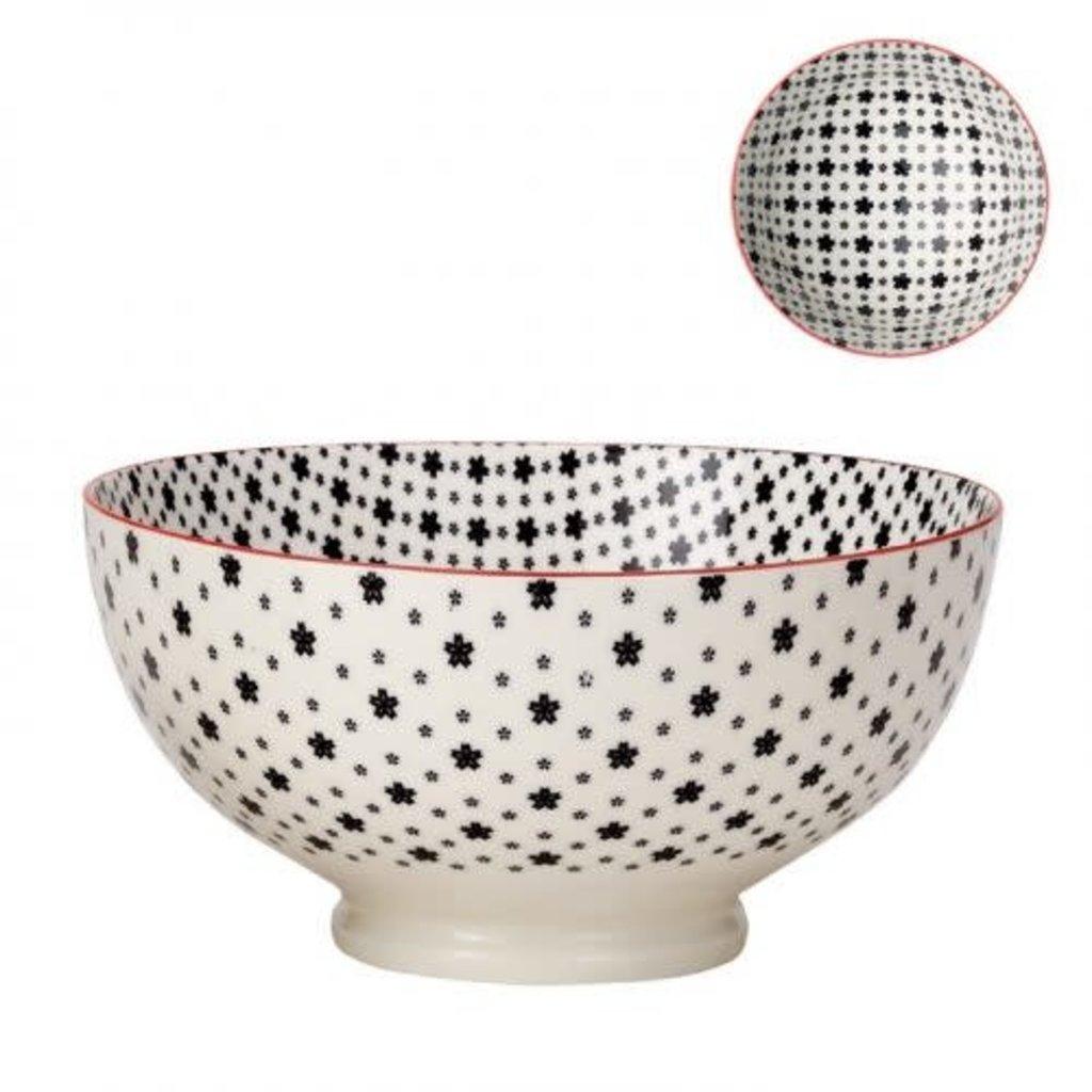 Torre & Tagus Bol de porcelaine kiri white with black daisies 8''