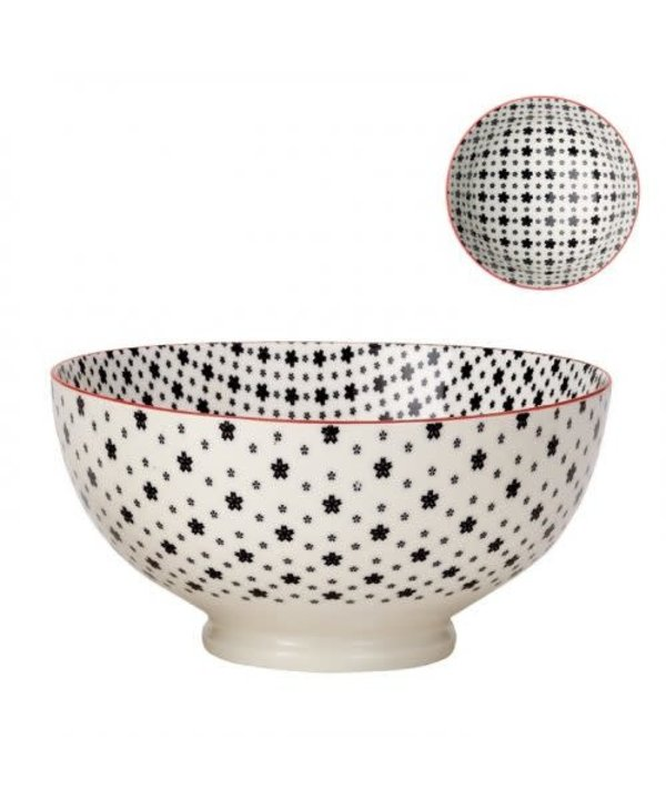 Bol de porcelaine kiri white with black daisies 8''