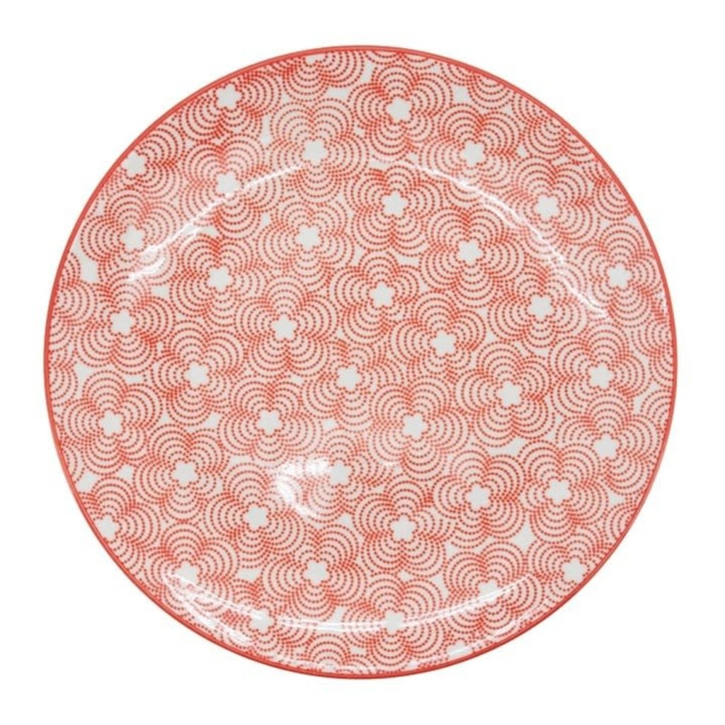 Torre & Tagus Assiette en porcelaine Kiri 8 red with red trim