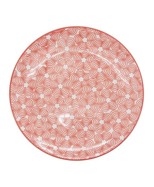Assiette en porcelaine Kiri 8 red with red trim
