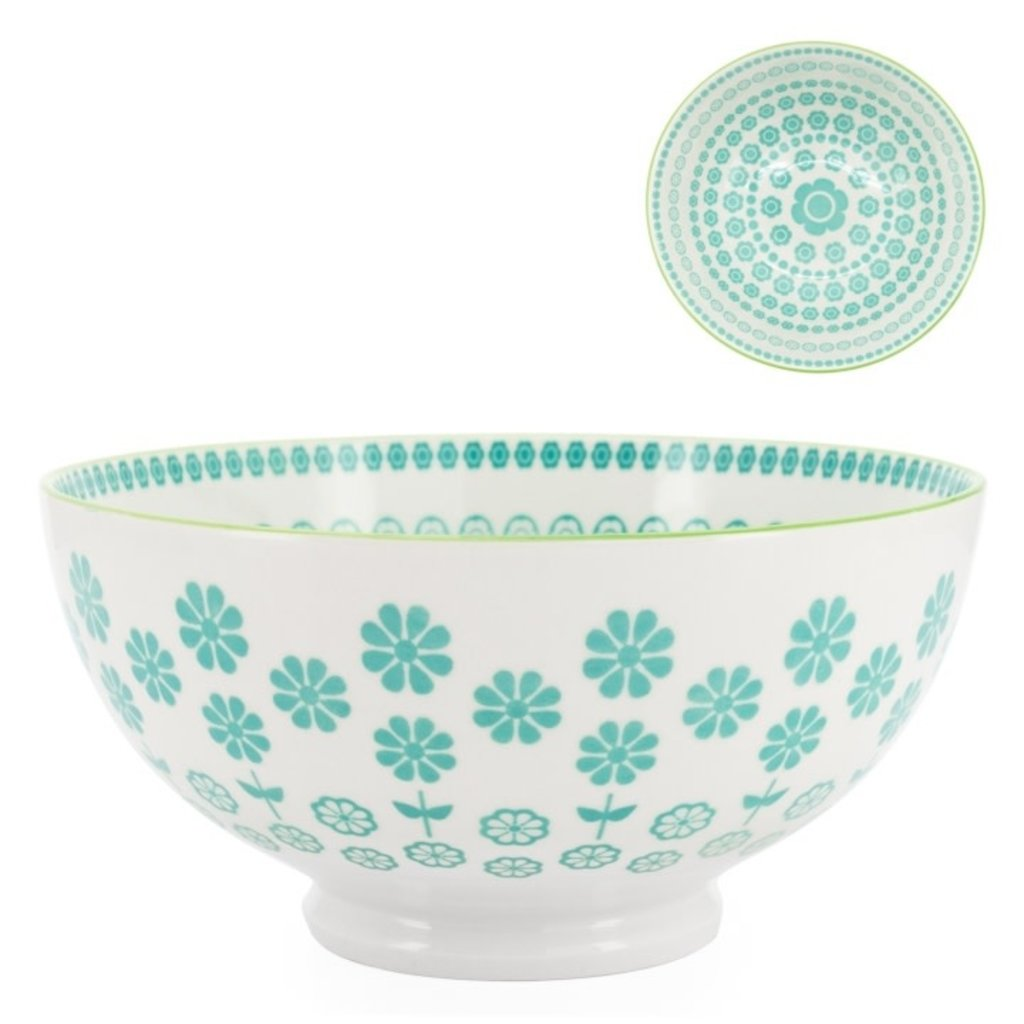 Torre & Tagus Bol en porcelaine Kiri 6 Turquoise Daisy