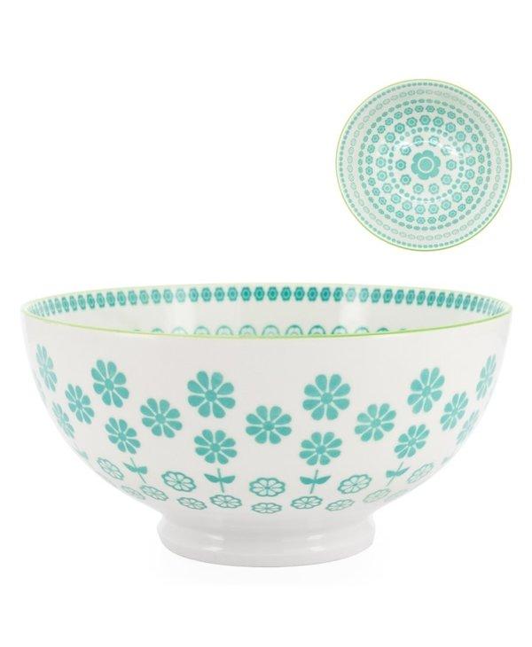 Bol en porcelaine Kiri 6 Turquoise Daisy