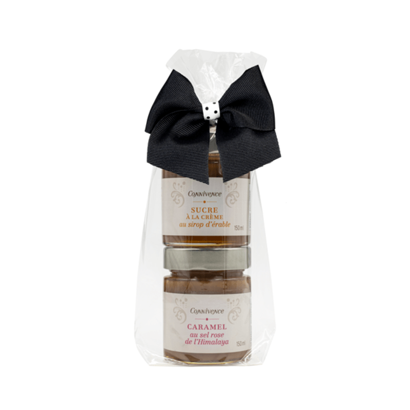 Connivence Ensemble cadeaux sucre à la crème /sirop d'érable et caramel au sel de mer rose d'Himalaya de Connivence