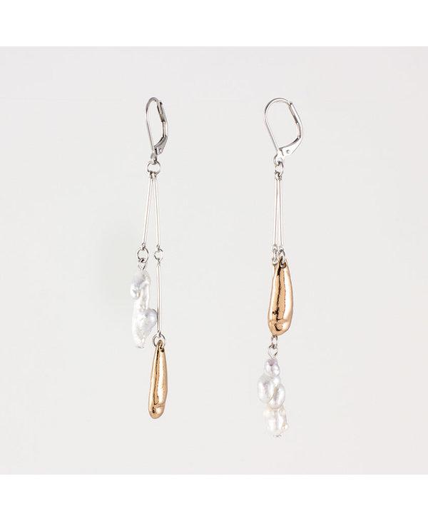 Boucles d'oreilles Anne-Marie Chagnon Peio Bronze Noir