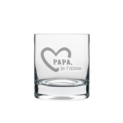 """Verre à whisky gravé """"Papa je t'aime"""""""