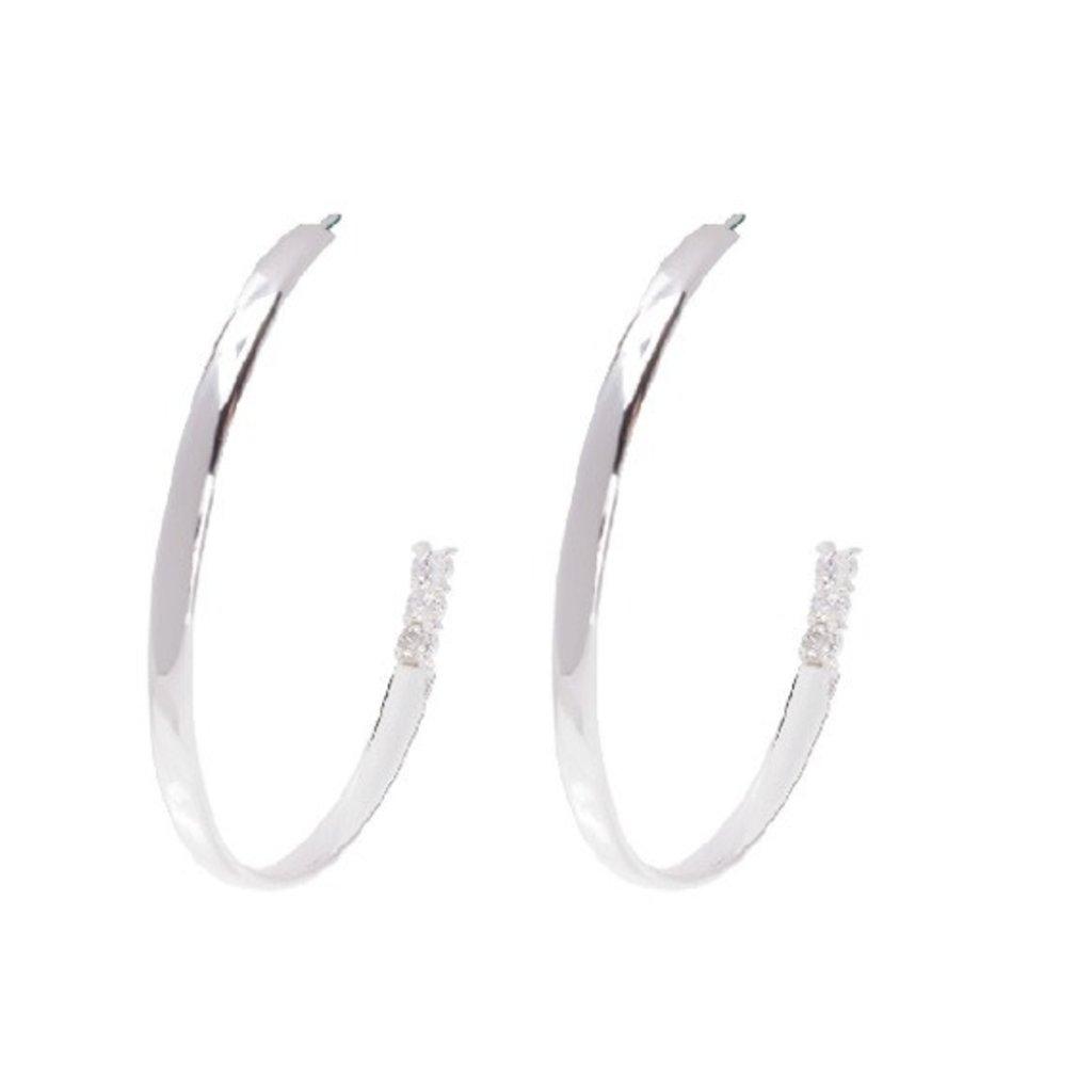 BeBlue Boucles d'oreilles Beblue grands anneaux pavé argent
