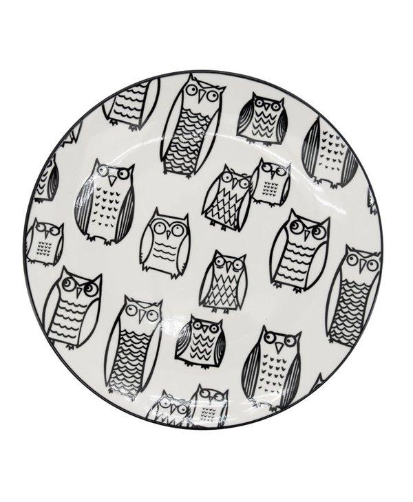 Assiette Kiri Porcelain 8.5 Side Plate - Owl Outline