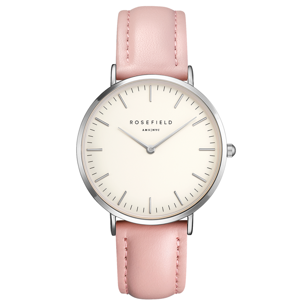Rosefield Montre Rosefield The Bowery blanc rose 38 mm