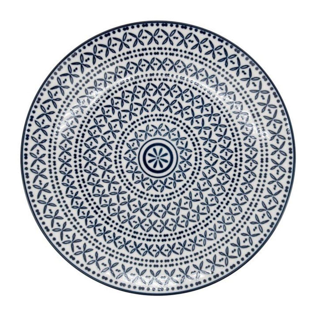 Torre & Tagus Assiette en porcelaine Kiri 8 Blue Stitch