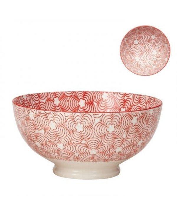 Bol de porcelaine kiri red with red trim 8''