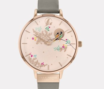 Montre Sara Miller birds in moon pink leather SA2004