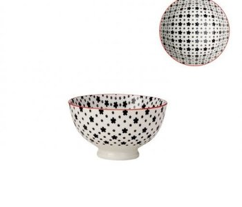 Bol de porcelaine kiri white with black daisies 4.5''