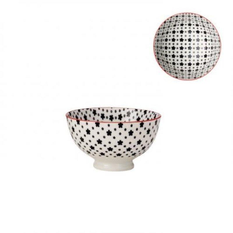 Torre & Tagus Bol de porcelaine kiri white with black daisies 4.5''