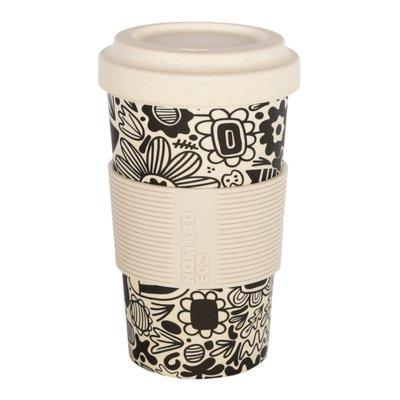 NOMAAD ECO - Tasse & Couvercle Fibre Bambou Maïs avec Manchon en Silicone - Fleurs Graphiques - 591ml