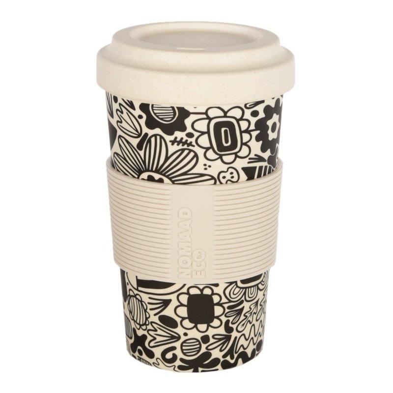 Nomaad Eco NOMAAD ECO - Tasse & Couvercle Fibre Bambou Maïs avec Manchon en Silicone - Fleurs Graphiques - 591ml