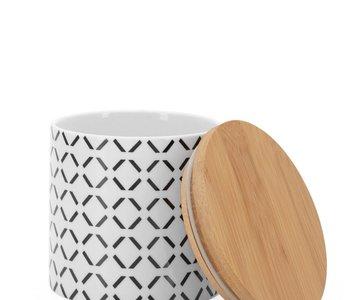 Pot de comptoir Kiri Porcelain 4d x 3.5h Canister Black Crosshatch
