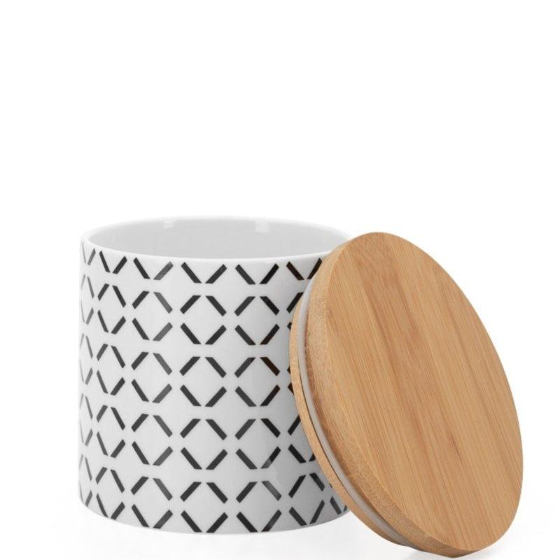 Torre & Tagus Pot de comptoir Kiri Porcelain 4d x 3.5h Canister Black Crosshatch