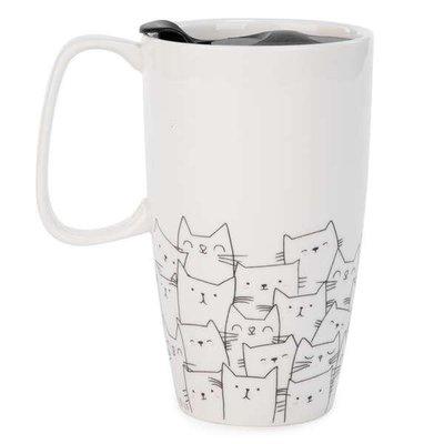 Tasse de voyage chats en noir & blanc