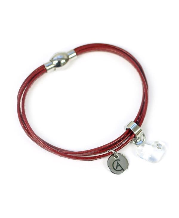 Bracelet Cré-Art Collection Juliette Cuir Rouge