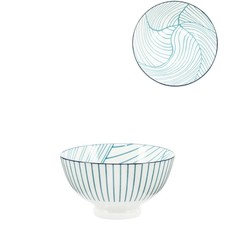 Torre & Tagus Bol Torre & Tagus Kiri en Porcelaine 4.5 pouces- Teal Linear Leaf