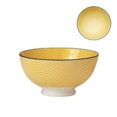 Torre & Tagus Bol de porcelaine kiri yellow with black trim 6''