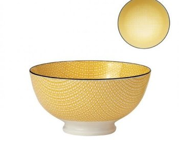 Bol de porcelaine kiri yellow with black trim 6''