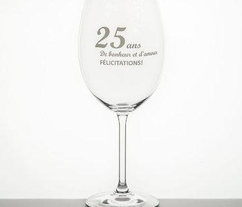 Verre à vin Garçon de table 25 anniversaire