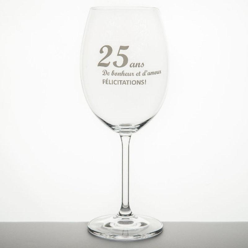 Garçon de Table Verre à vin Garçon de table 25 anniversaire