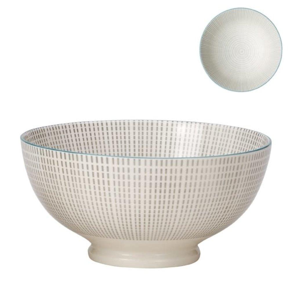 Torre & Tagus Bol de porcelaine Kiri 8'' grey with blue trim