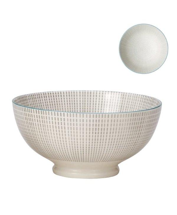 Bol de porcelaine Kiri 8'' grey with blue trim
