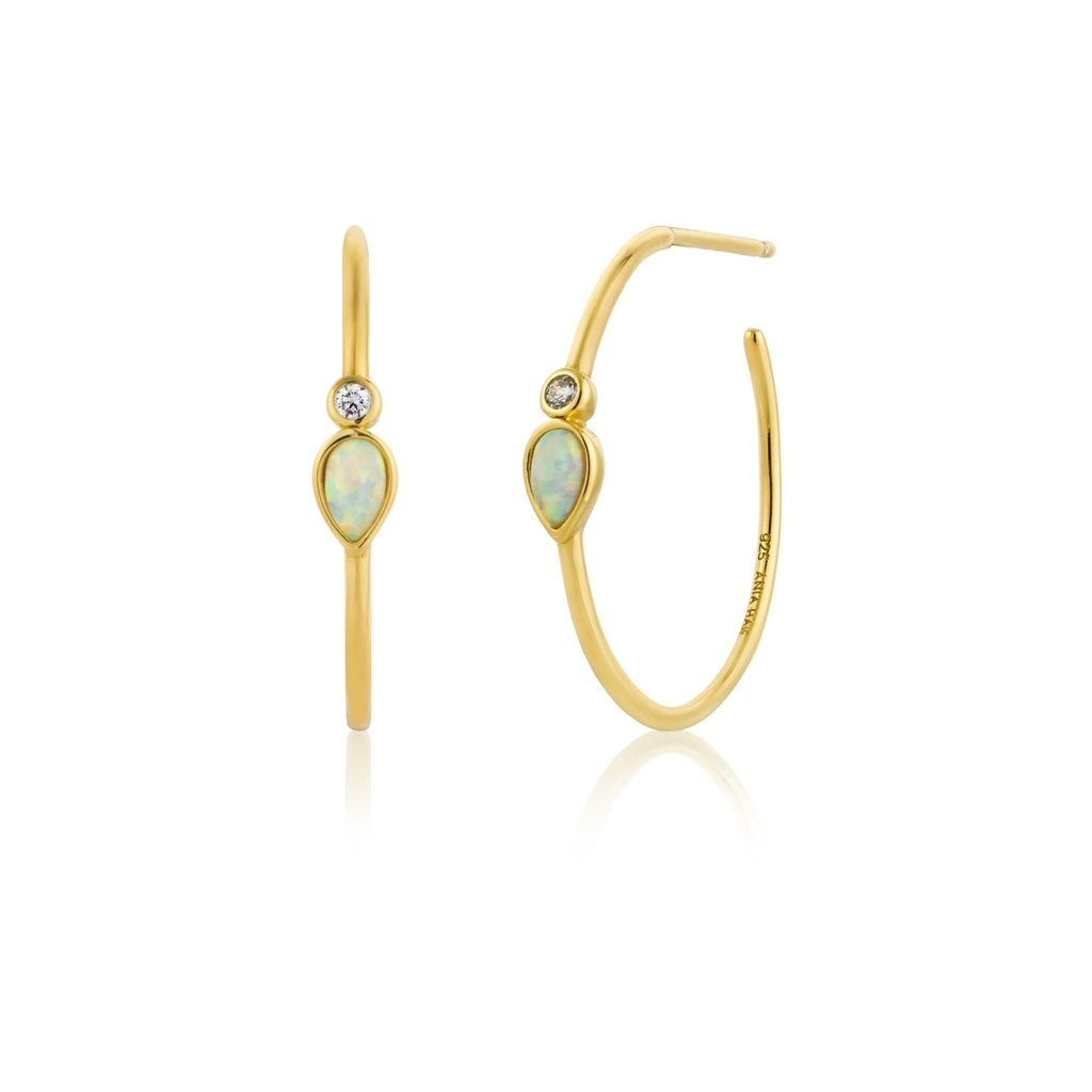 Ania Haie Boucles d'oreilles Ania Haie Opal Colour Raindrop Gold Hoop