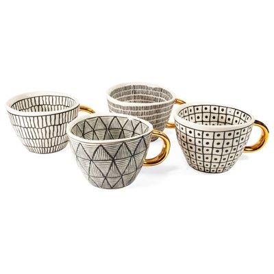 Ensemble de tasses noir et blanc géométrique