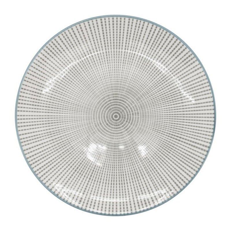 Torre & Tagus Assiette en porcelaine Kiri 8 grey with blue trim
