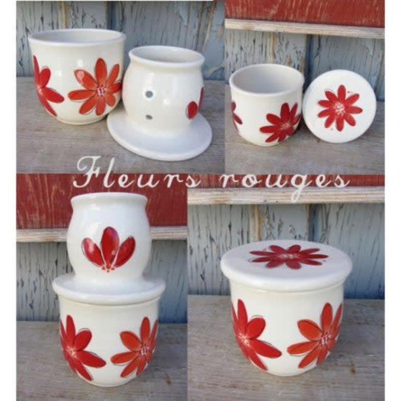 Weilbrenner & Lebeau Petit Beurrier Breton fleurs rouge de Weilbrenner et Lebeau
