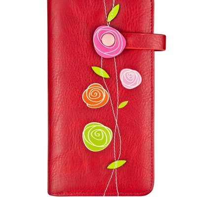 Espe Roses Portefeuille Clutch Rouge