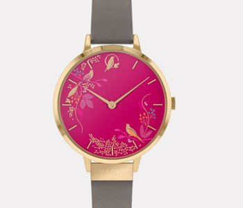 Montre Sara Miller pink birds leather SA2016