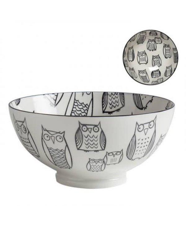 Bol de porcelaine kiri owl outline 8''
